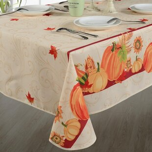 Autumn Leaves with Pumpkins Tablecloth