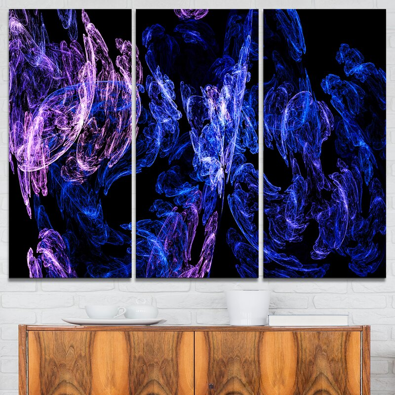 Designart Dark Blue Fractal Desktop Wallpaper 3 Piece Graphic Art On Wrapped Canvas Set Wayfair