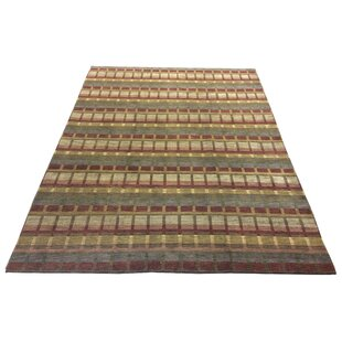 Compare prices One-of-a-Kind Chamorro Hand-Knotted Wool Red Area Rug By Red Barrel Studio