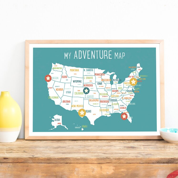 Personalized Usa Map.Children Inspire Design Usa Personalized Adventure Map Paper Print