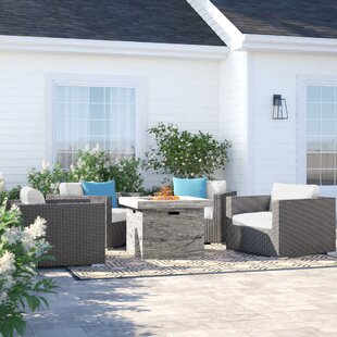 Cabral 5 Piece Rattan Sunbrella Conversation Set with Cushion by Sol 72 Outdoor