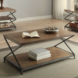 Smithson Contemporary Rectangular Wood and Metal Coffee Table by Gracie Oaks