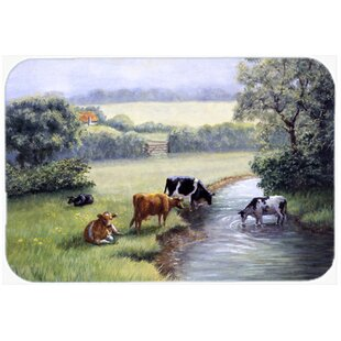 Cows Drinking at the Creek Bank Glass Cutting Board