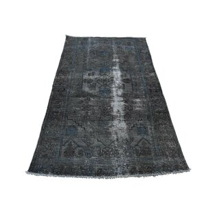 Compare prices One-of-a-Kind Holman Vintage Overdyed Wide Hand-Knotted Runner 3'3 x 5'7 Wool Black Area Rug By Isabelline