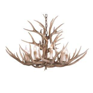 Loon Peak Whittingham Polyresin Antler 9-Light Candle Style Chandelier