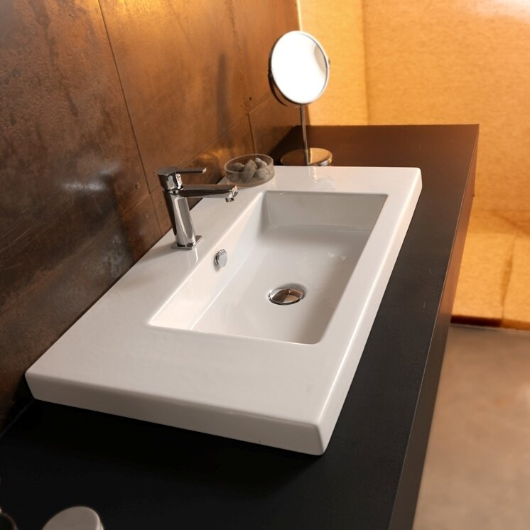 Brayden Studio Hernandes Glossy White Vitreous China Rectangular Drop In Bathroom Sink With Overflow Wayfair