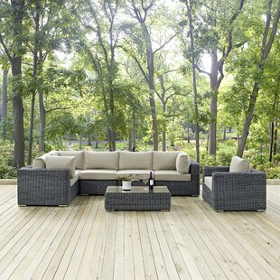 Summon 7 Piece Rattan Sunbrella Sectional Set with Cushions