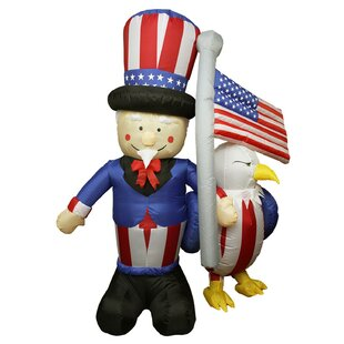 Northlight Seasonal Inflatable Uncle Sam American Flag and Eagle Decoration