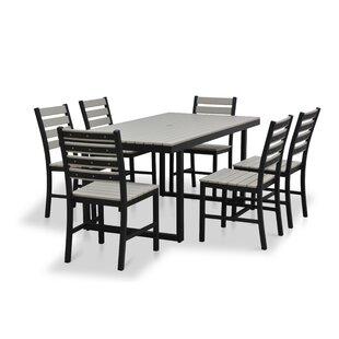 Tristin Outdoor Rectangular 7 Piece Dining Set