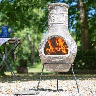 Great Deals Braedon Clay Wood Burning Chiminea