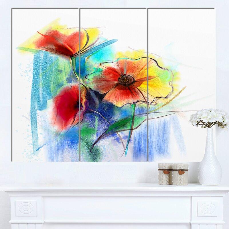 DesignArt \'Watercolor Multi-color Flower Illustration\' 3 Piece Wall ...