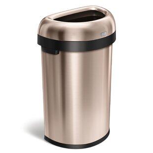simplehuman 16 Gallon Semi-Round Open Trash Can, Heavy-Gauge Rose Gold Steel