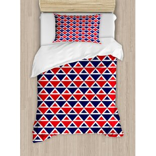 42a4c0816baf Americana Decor USA Flag Inspired Abstract Pattern Squares and Triangles  Art Duvet Cover Set