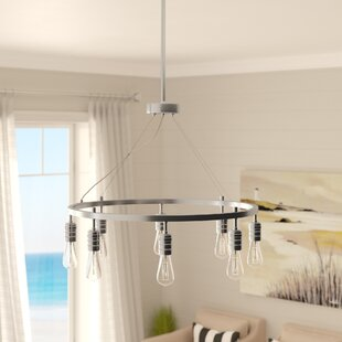 Beachcrest Home Emory 8-Light Wagon Wheel Chandelier