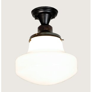 Revival Schoolhouse with Classic Globe 1-Light Semi Flush Mount by Meyda Tiffany