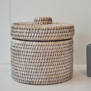 artifacts trading Rattan Round Single Tissue Box Cover