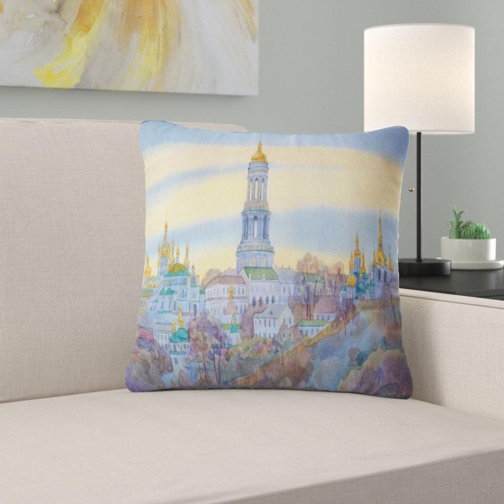 East Urban Home Cityscape Monastery On Steep Hill Pillow Wayfair