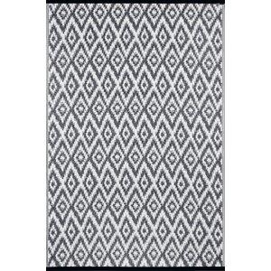 Lightweight Reversible Charcoal Gray/White Indoor/Outdoor Area Rug