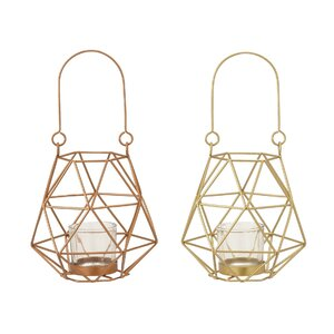 Metal and Glass Lantern (Set of 2)