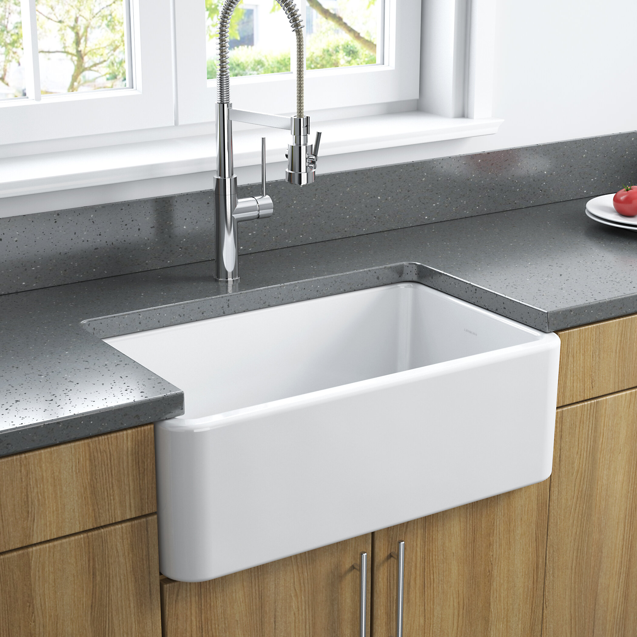 Latoscana 30 L X 18 W Fireclay Farmhouse Reversible Kitchen Sink Reviews Wayfair