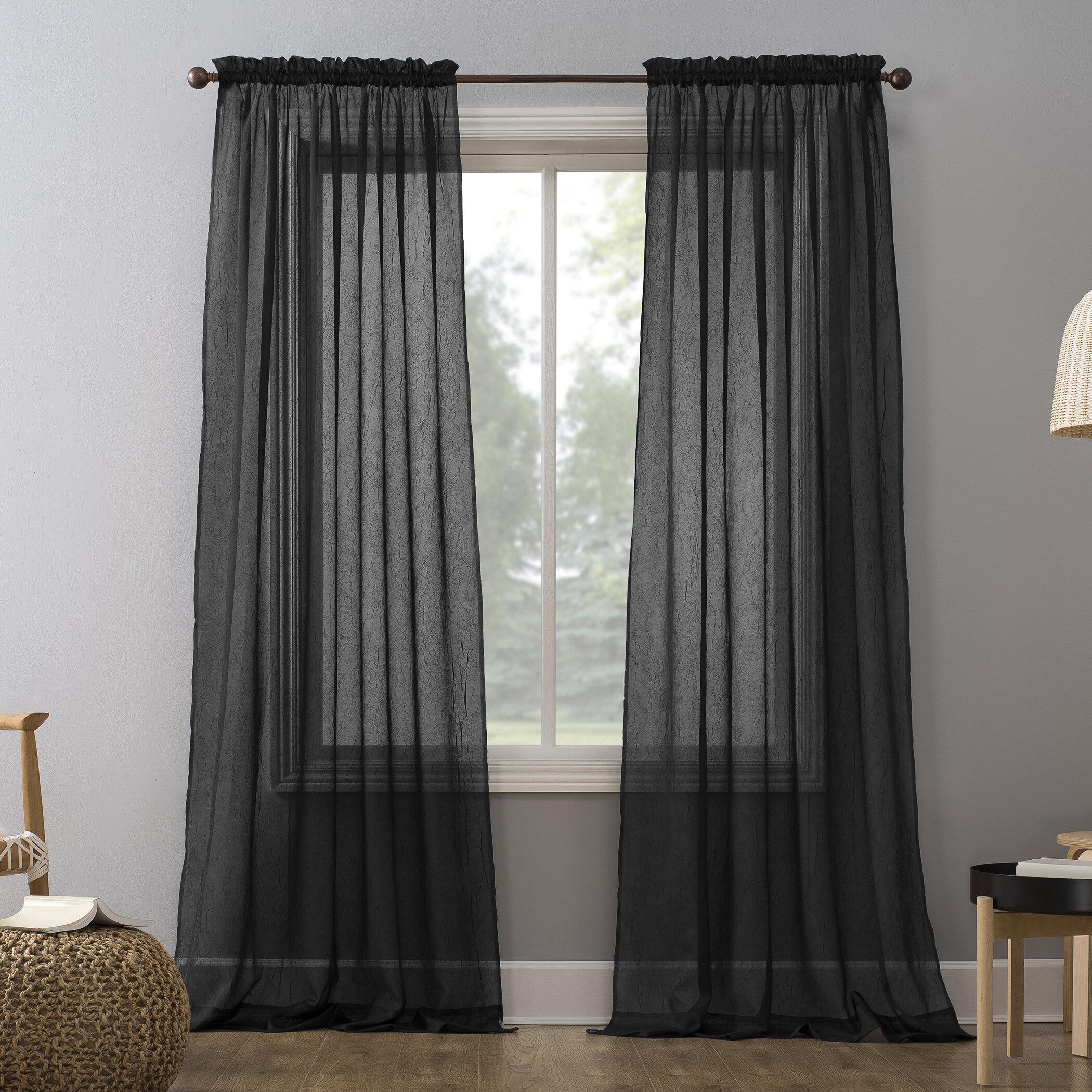 Black Sheer Curtains Drapes Free Shipping Over 35 Wayfair