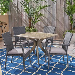 Gaither Outdoor 5 Piece Dining Set with C..
