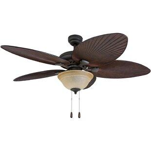 Palm leaf ceiling fan wayfair 52 laurena indoor 5 blade ceiling fan with remote aloadofball Choice Image