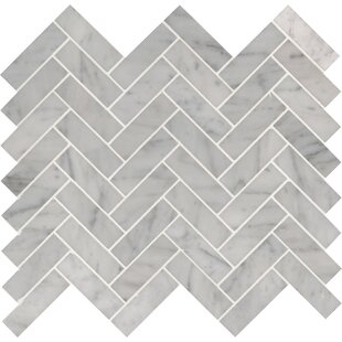 Carrara Herringbone 1 X 3 Marble Mosaic Tile In White