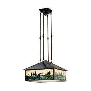 Meyda Tiffany Fly Fishing Creek 3-Light Pendant