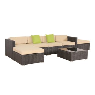 7 Piece Rattan Sectional Set with Cushions by Auro Furniture