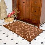 Cheltenham Giraffe Contemporary Rectangle 100% Cotton Non-Slip Animal Print piece Bath Rug Set (Set of 2)