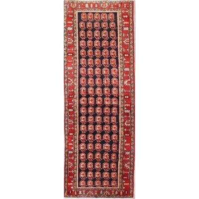 Isabelline One Of A Kind Alegre All Over Ardebil Persian Hand Knotted Runner 4 5 X 13 4 Wool Blue Red Area Rug Wayfair