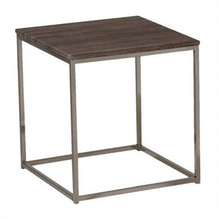 Maid Square Wood Top Metal Base End Table