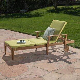 Gracie Oaks Kempinski Reclining Chaise Lounge with Cushion