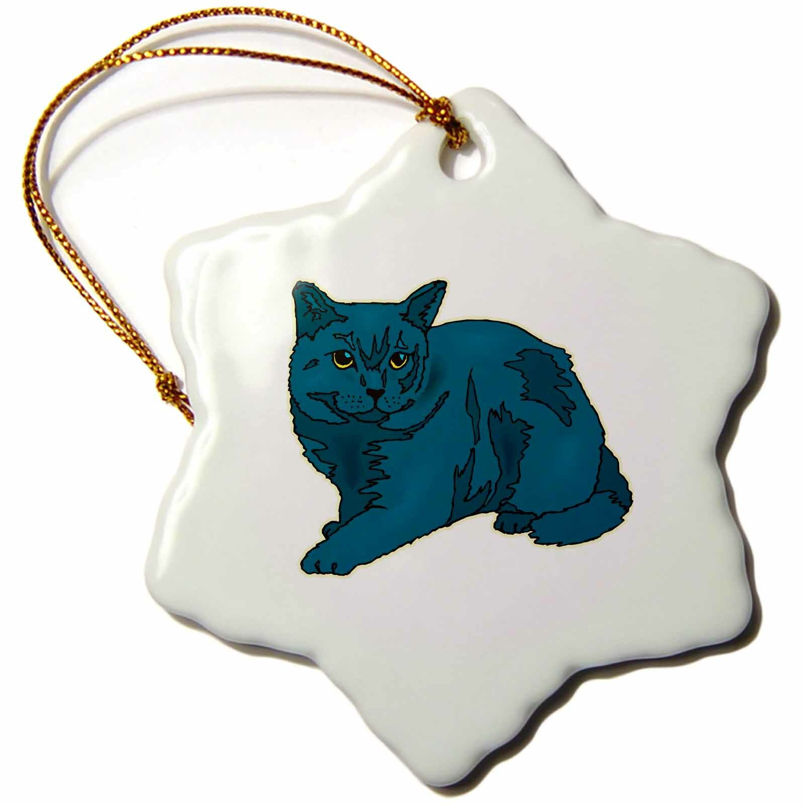 The Holiday Aisle Russian Cat Snowflake Holiday Shaped Ornament Wayfair