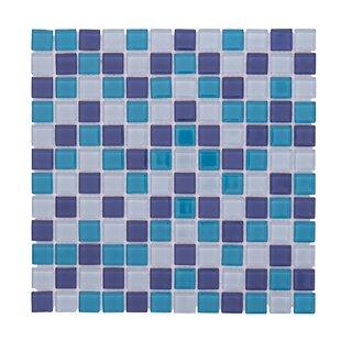 Crystal Pool 12 X Gl Mosaic Backsplash Tile In Blue White
