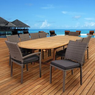 Catriona 11 Piece Teak Dining Set with Cushions