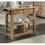 Karval Serving Kitchen Island with Wood Top by Loon Peak®