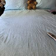 Trina Turk Blue White 4 Piece Queen Size Sheet Set 100/% Cotton Percale Fiorella