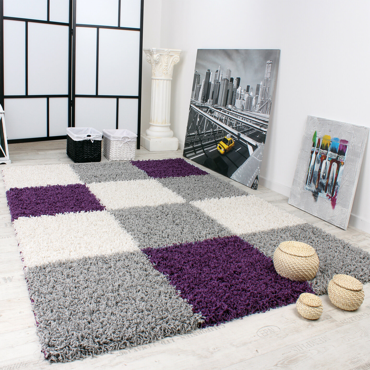 Picture of: 17 Stories Rumbell Shag Purple Grey Rug Reviews