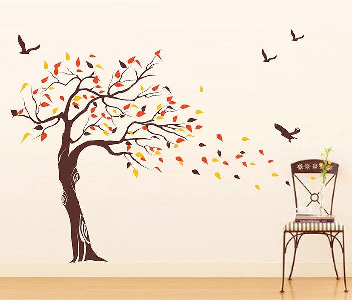 pop decors beautiful tree and birds wall decal & reviews   wayfair.ca