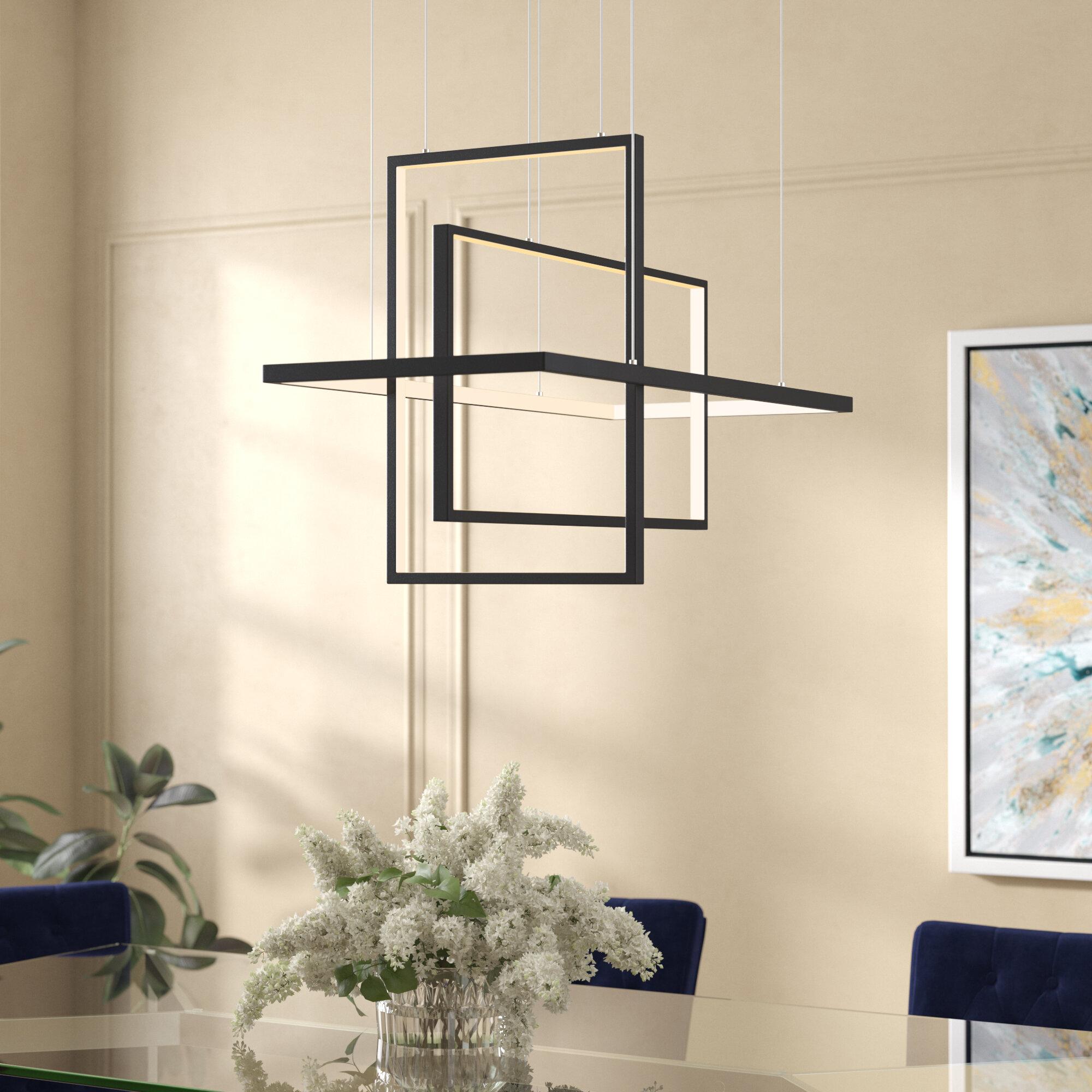 Orren Ellis Lancashire 3 Light Led Unique Statement Geometric Chandelier Reviews Wayfair