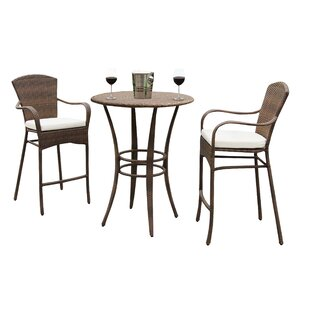 Key Biscayne 3 Piece Bar Height Dining Set with Cushion