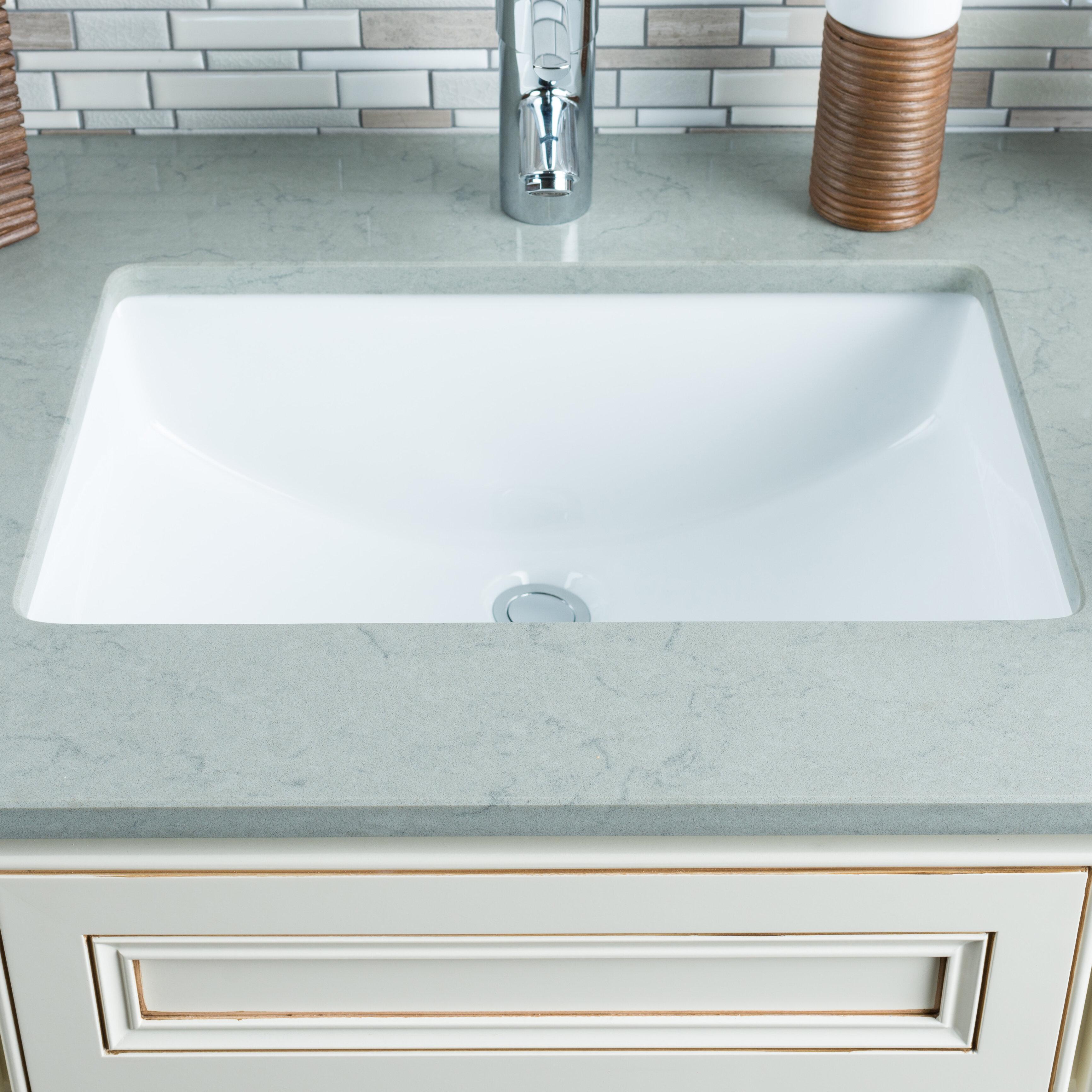 Hahn Ceramic Rectangular Undermount Bathroom Sink with Overflow ...