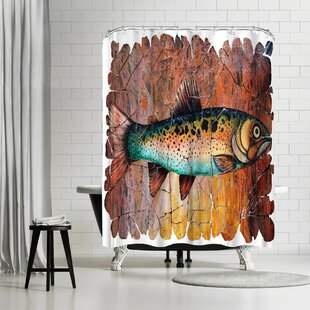 OLena Art Vintage Trout Fresco Single Shower Curtain
