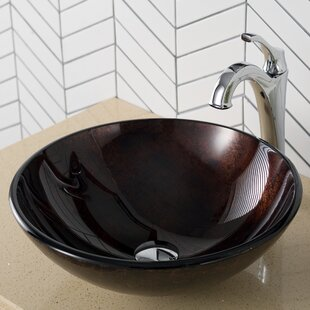 Best Cutlip Glass Circular Vessel Bathroom Sink ByWorld Menagerie
