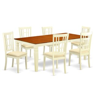 Beesley 7 Piece Buttermilk/Cherry HardWood Dining Set DarHome Co