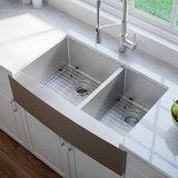 "33"" L x 21"" W Double Basin Farmhouse Kitchen Sink with Basket Strainer"