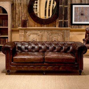 Castered Leather Chesterfield Sofa BySarreid Ltd