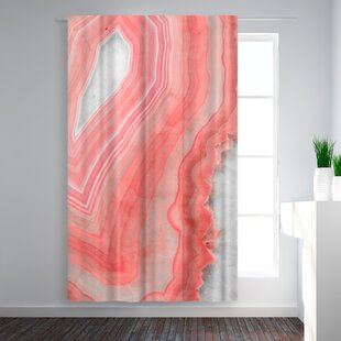 Emanuela Carratoni Painted Agate Abstract Blackout Rod Pocket Single Curtain Panel by East Urban Home